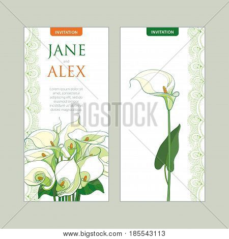 Vector wedding invitation with outline bouquet Calla lily flower or Zantedeschia in pastel colors. Vertical template in contour style with ornate calla and decorative lace for wedding design.