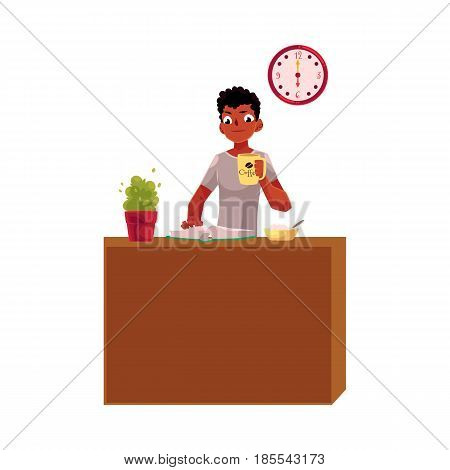 Young black, African American businessman having breakfast, holding coffee cup, reading, cartoon vector illustration isolated on white background. Black, African businessman, student having breakfast