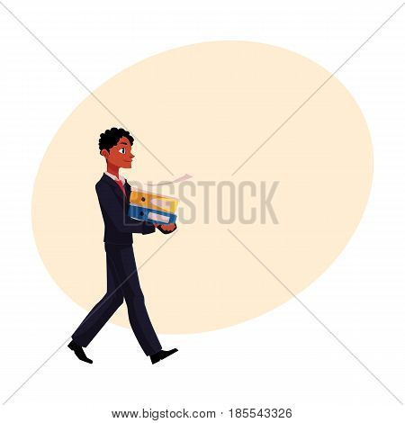 Black, African American businessman going somewhere, carrying folders, cartoon vector illustration with space for text. Black businessman with pile of document folders