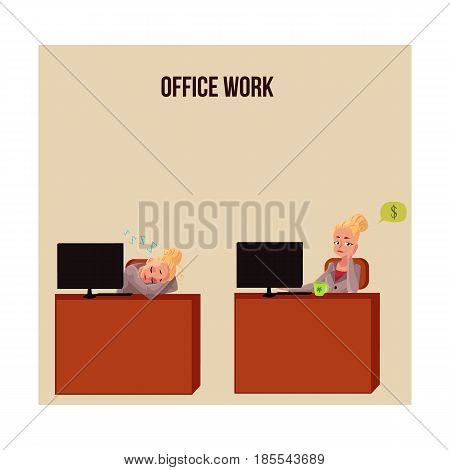 Office life poster, banner with business woman, secretary snoozing at office desk, thinking about money, cartoon vector illustration isolated on white background. Businesswoman, secretary in office