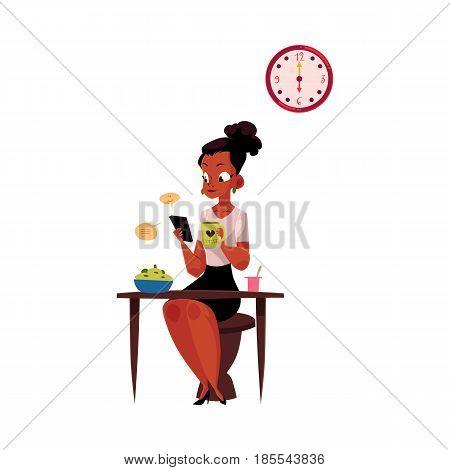 Black, African American businesswoman using smartphone, having breakfast, drinking coffee before work, cartoon vector illustration isolated on white background. Black businesswoman has breakfast