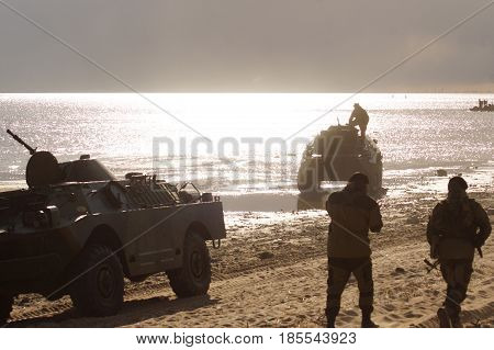 Military Equipment At The Demonstration, The Tank Rides On The Water, Scattering Water, A Sunny Even