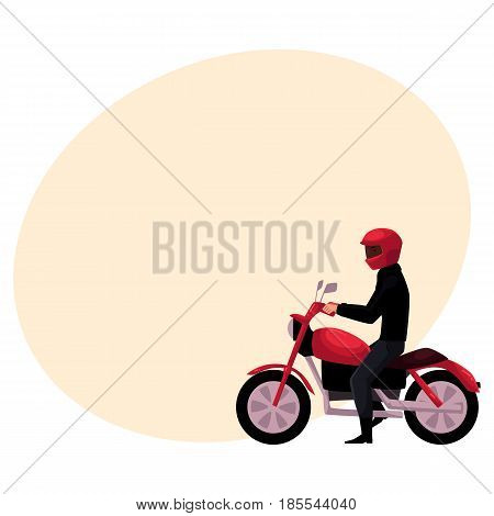 Motorcycle, motorbike rider wearing helmet, side vew, urban motor transport concept, cartoon vector illustration with space for text. Man riding motorcycle, biker, motorcyclist wearing helmet