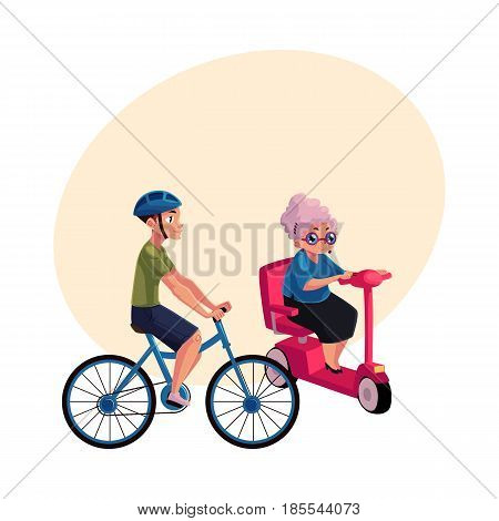 Young man riding bicycle and old woman driving modern scooter, personal urban transport concept, cartoon vector illustration with space for text. Bicycle, cycle and scooter riders, drivers