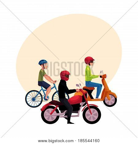 Motorcycle, scooter and bicycle drivers, riders wearing helmet, side vew, cartoon vector illustration with space for text. Motorcycle, scooter, bicycle, types of typical urban transport