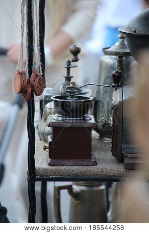 Nostalgic coffee grinder. Retro manual coffee mill.
