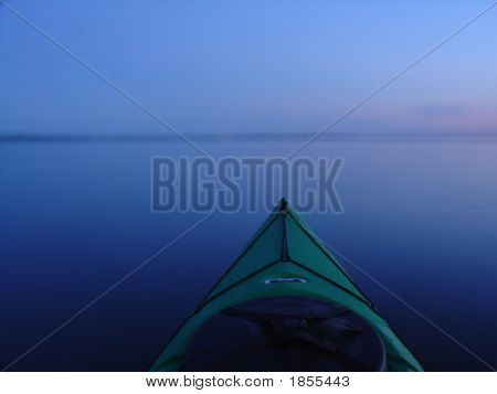 Kayaking At Dusk, Blue