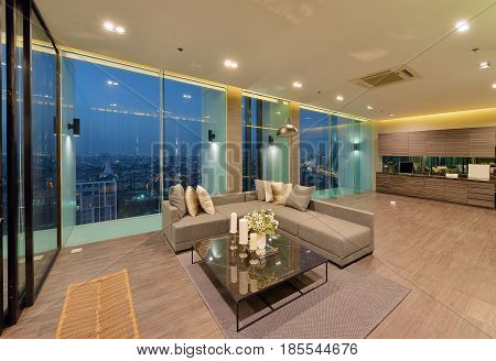 Luxury Modern Living Room Interior And Decoration At Night, Interior Design.