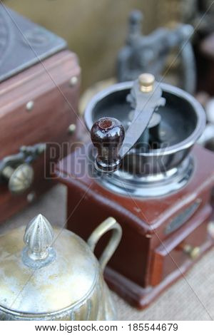 Mechanical coffee grinder. Retro manual coffee mill.