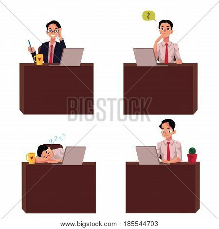 Businessman sitting at office desk, working on laptop, talking by mobile phone, having nap, cartoon vector illustration isolated on white background. Businessman, employee working at office desk