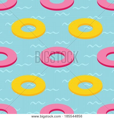 Cute colorful rubber swim rings in swimming pool, water seamless pattern background.