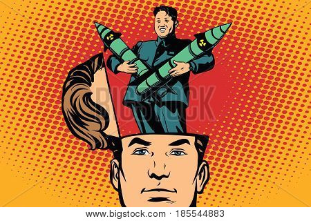 Man with an open head Kim Jong UN the leader of North Korea. Comic cartoon style pop art retro color vector illustration