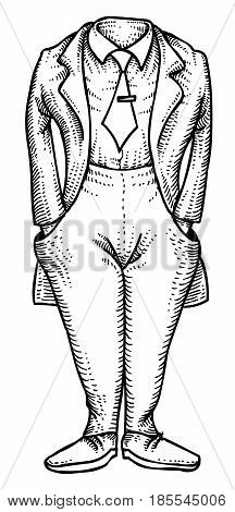 Cartoon image of headless man. An artistic freehand picture.