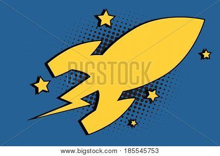 Spaceship space rocket cartoon bubble. Comic cartoon style pop art retro color vector illustration