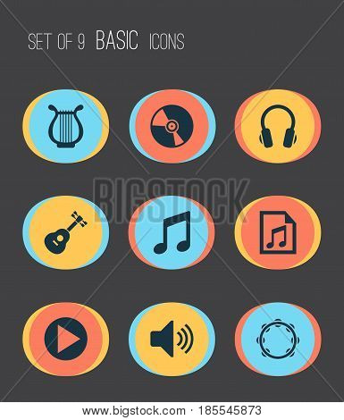 Music Icons Set. Collection Of Lyre, Sound, Cd And Other Elements. Also Includes Symbols Such As Vinyl, Playlist, Cd.
