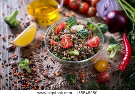 Lentil salad with veggies healthy food vegetarian and vegan snack clean eating diet detox. Vegan protein.