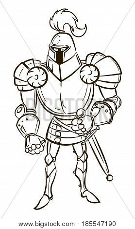 Cartoon image of medieval knight. An artistic freehand picture.