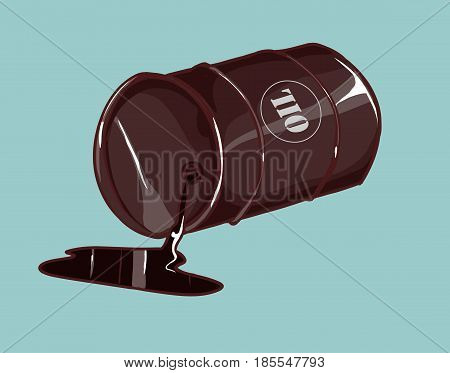 Vector Illustration of a Drum with spilled oil