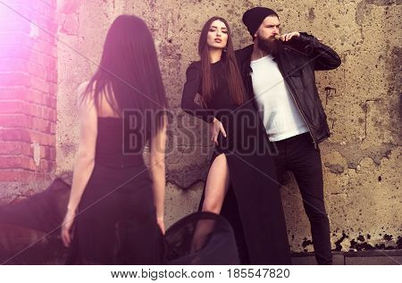 Sexy Girl Hugging Bearded Man Drinking Wine