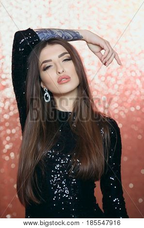 Pretty Fashion Girl In Sequin Black Dress Posing With Tatoo