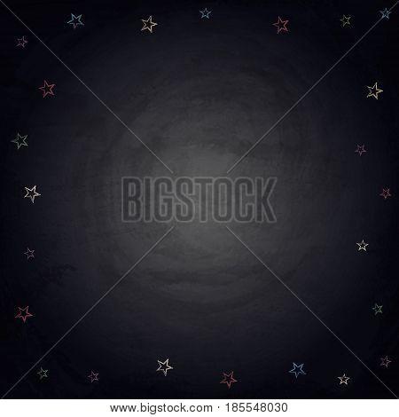Handdrawn Stars On Chalkboard Blackboard Background