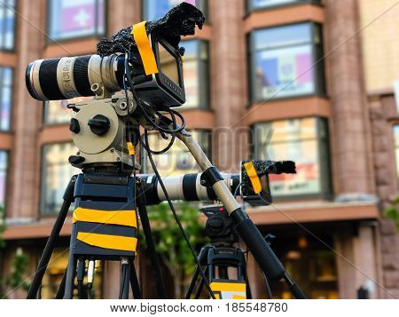 Camcorder Professional video equipment for camera photography outdoor