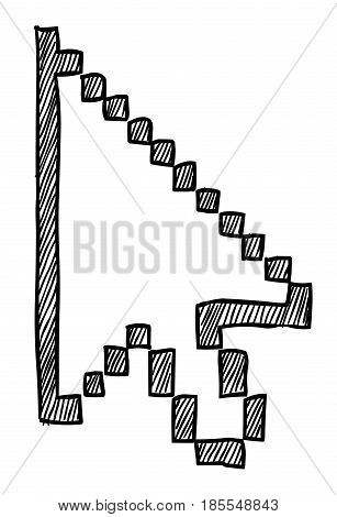 Cartoon image of Pointer Icon. Cursor arrow symbol. An artistic freehand picture.