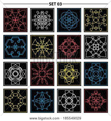 Set of floral monogram design. Line art elements. Vector illustration