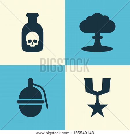 Warfare Icons Set. Collection Of Order, Danger, Atom And Other Elements. Also Includes Symbols Such As Nuclear, Bombshell, Atom.