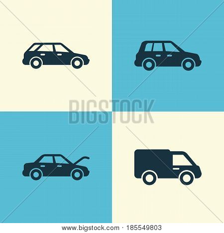 Automobile Icons Set. Collection Of Car, Truck, Fixing And Other Elements. Also Includes Symbols Such As Crossover, Wagon, Hood.