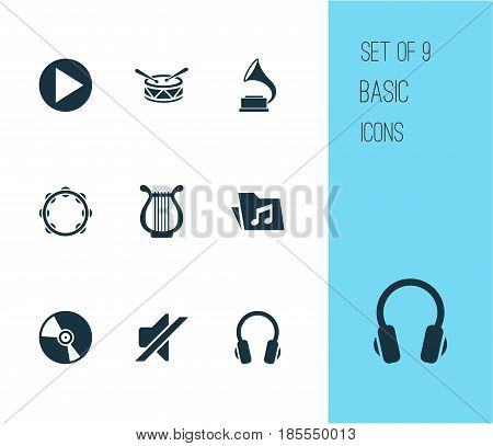 Multimedia Icons Set. Collection Of Start, Silence, Cd And Other Elements. Also Includes Symbols Such As Button, Vinyl, Play.