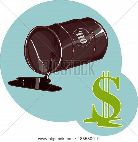 Vector Illustration of a Drum with spilled oil an dollar