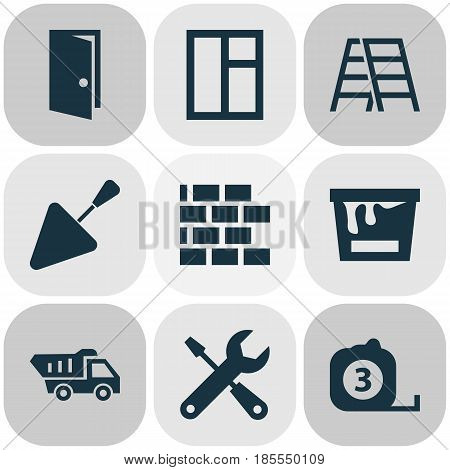 Building Icons Set. Collection Of Glass Frame, Spatula, Stair And Other Elements. Also Includes Symbols Such As Rule, Brickwork, Truck.