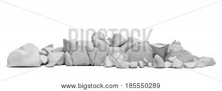 Pile of white stones isolated on white background. 3D illustration