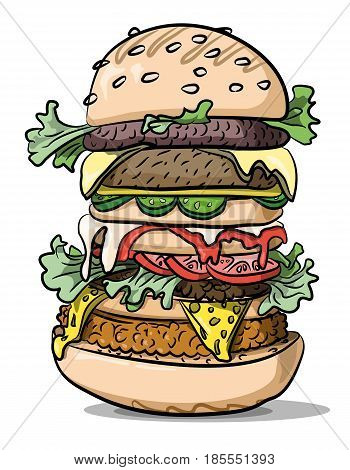 Cartoon image of tasty burger. An artistic freehand picture.