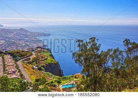 Madeira island Portugal. Landscape on the Southern Coast Cabo Girao Atlantic Ocean and Funchal. Cabo Girao is famous for its sea cliff at 589 m.