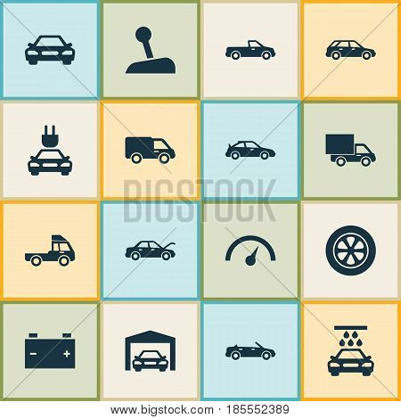 Car Icons Set. Collection Of Auto, Hatchback, Truck And Other Elements. Also Includes Symbols Such As Carriage, Battery, Lever.