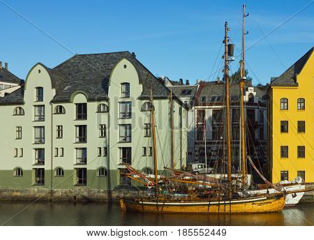 Hotels and yachts in the center of norwegian town Alesund.