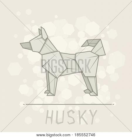 Vector simple illustration paper origami of dog husky.