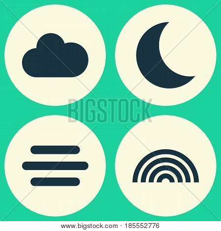 Climate Icons Set. Collection Of Moon, Haze, Colors And Other Elements. Also Includes Symbols Such As Cloudy, Colors, Weather.