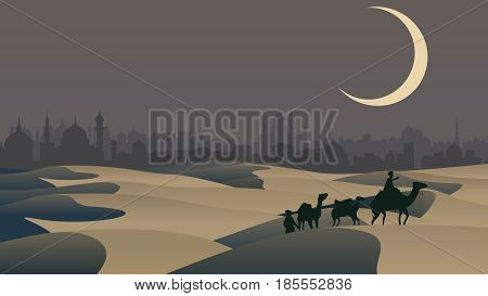 Vector horizontal illustration sand desert: bedouin caravan camels against over city on horizon.