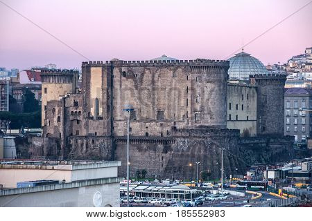 Naples, Italy - May 7, 2017: Castel dell'Ovo (Egg Castle) Roman fortress.