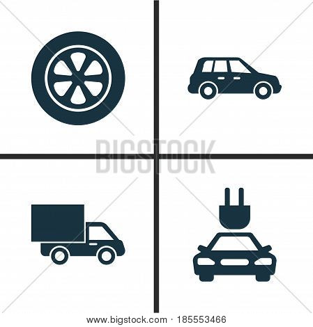 Car Icons Set. Collection Of Wheel, Plug, Lorry And Other Elements. Also Includes Symbols Such As Automobile, Lorry, Car.