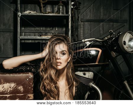 Travelling And Active Lifestyle, Girl Biker With Suitcase At Motorcycle