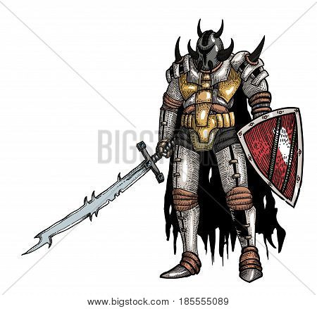 Cartoon image of warrior with sword. An artistic freehand picture.