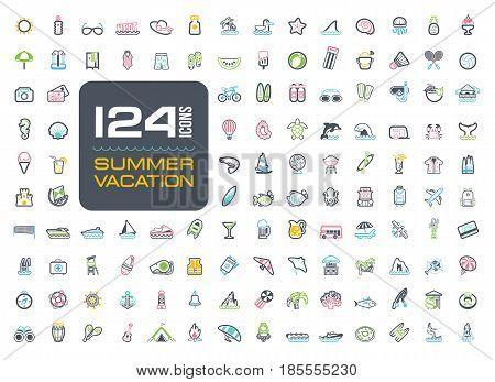 Summer vector icon set. Beach. Travel. Summertime. Vacation eps 10