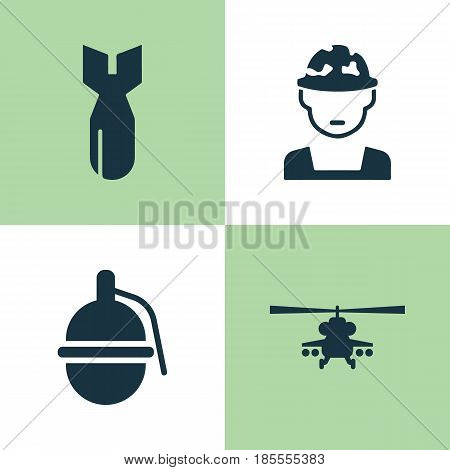Army Icons Set. Collection Of Rocket, Military, Bombshell And Other Elements. Also Includes Symbols Such As Nuclear, Military, Grenade.