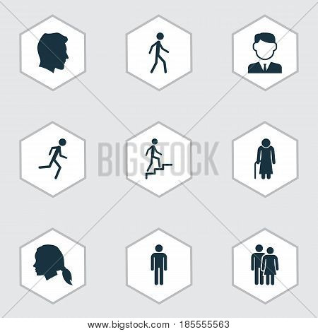 Person Icons Set. Collection Of Ladder, Gentlewoman Head, Beloveds And Other Elements. Also Includes Symbols Such As Man, Grandma, Head.