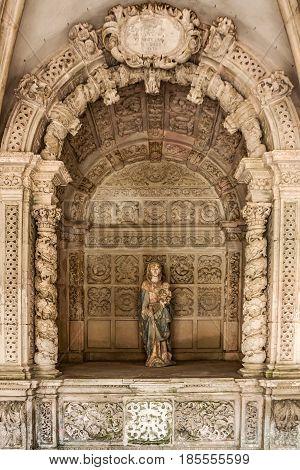 Alcobaca, Portugal - May 7, 2017: Statue of Virgin Mary of Alcobaca monastery, Portugal