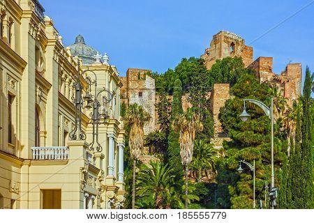 Malaga city, Spain, Alcazaba fortress view. Andalusia